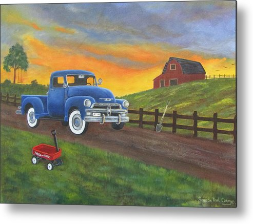 Metal Print featuring the painting Boys Toys by Sharon Coray