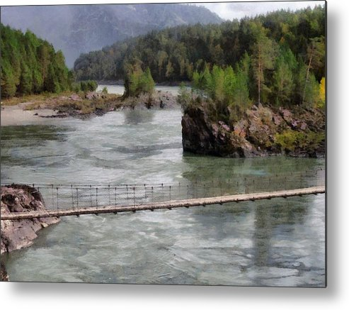 Bridge Metal Print featuring the photograph Bridge Across Mountain River by Sergey Lukashin