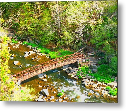 Rocks Metal Print featuring the photograph Bridge At The Falls by Judy Waller