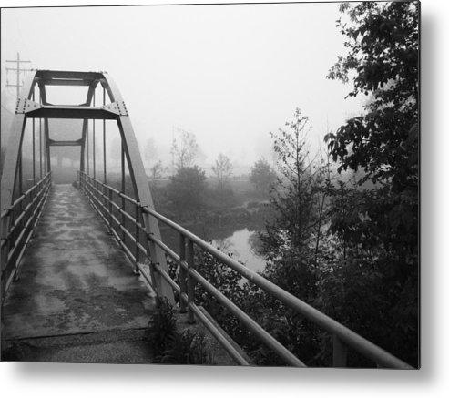 Bridge Metal Print featuring the photograph Bridge In Fog by Karen Summers