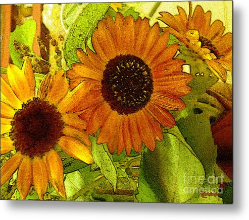 Sunflowers Metal Print featuring the digital art Bright Regalia by RC DeWinter