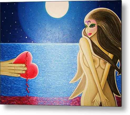 Broken Heart Bleeding Man Woman Ocean Full Moon Blood Hand Nude Aries Metal Print featuring the painting Broken Heart by Janine Antulov