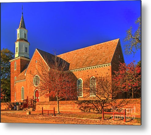 Bruton Parish Church Metal Print featuring the photograph Bruton Parish Church In The Warm Autumn Afternoon Sunlight 6477tmt by Doug Berry