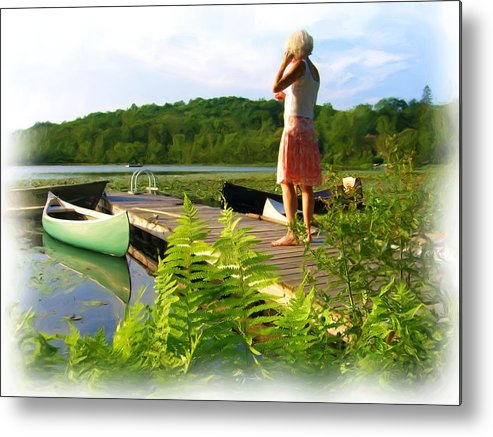 Landscape With Person Metal Print featuring the painting Bryant Pond by Jonathan Galente