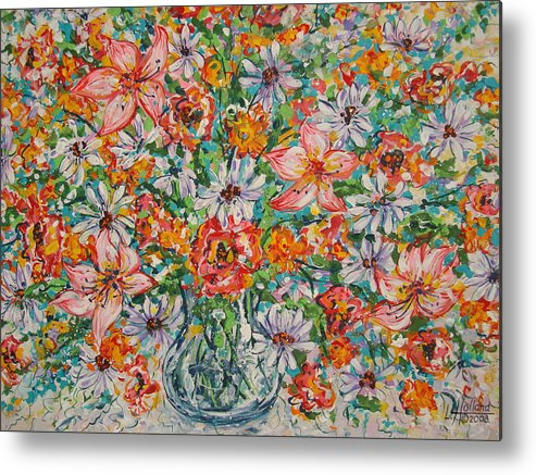 Flowers Metal Print featuring the painting Burst Of Flowers by Leonard Holland