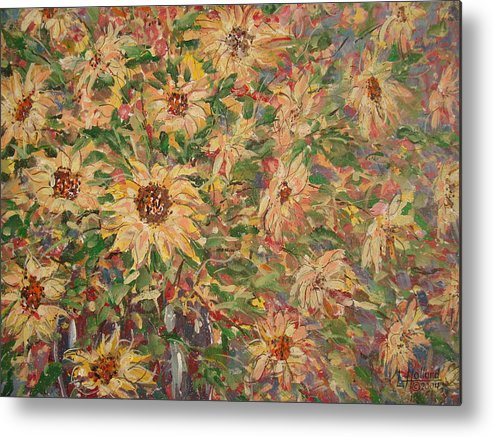 Flowers Metal Print featuring the painting Burst Of Sunflowers. by Leonard Holland