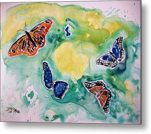 Watercolour Metal Print featuring the painting Butterflies by Derek Mccrea