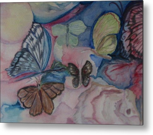 Watercolor Metal Print featuring the painting Butterflies by Marian Hebert