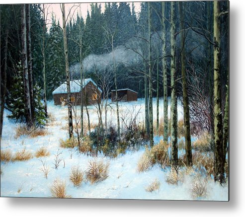 Cabin Metal Print featuring the painting Cabin In The Woods by E Colin Williams ARCA
