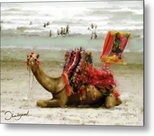 Pakistan Metal Print featuring the painting Camel For Ride by Shahzad Hamid