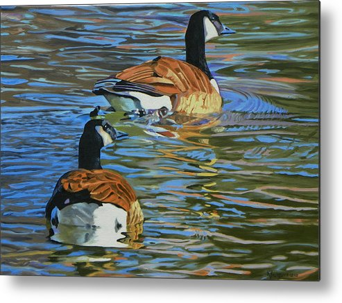 Bird Metal Print featuring the painting Canada Geese by Kenneth Young