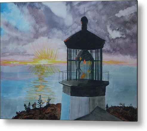 Lighthouse Metal Print featuring the painting Cape Meares Lighthouse Oregon by Warren Thompson
