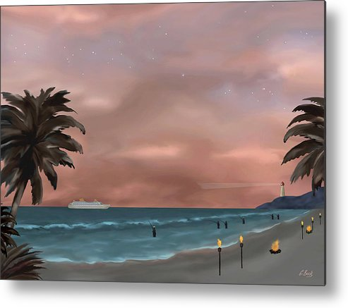 Contemporary Tropical Seascape Sailing Fishing Island Lighthouse Nature Sunset Gordon Beck Metal Print featuring the painting Caribbean Dreams by Gordon Beck