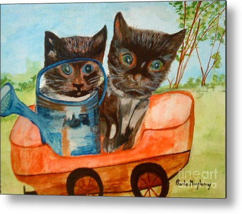 Cats Metal Print featuring the painting Cat Mischief by Paula Maybery
