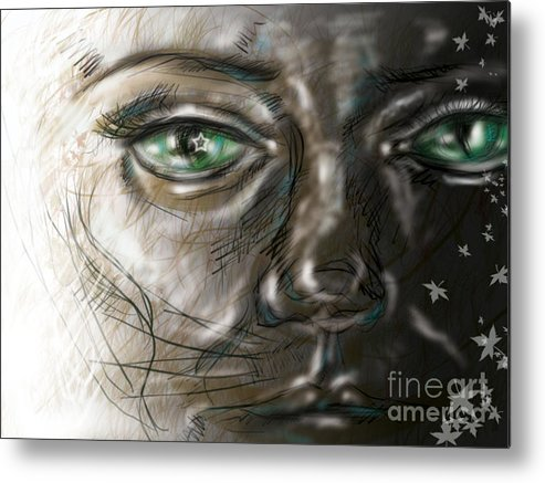Portrait Metal Print featuring the digital art Catface by Iglika Milcheva-Godfrey