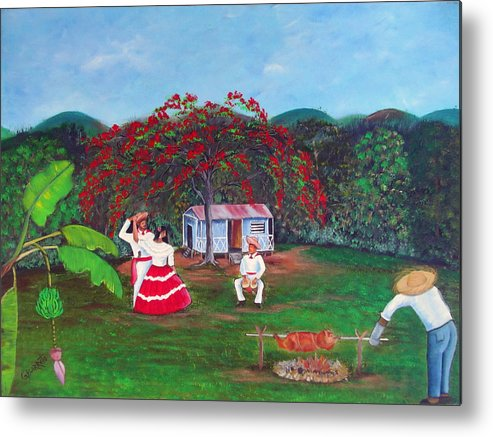 Puerto Rico Fiesta Metal Print featuring the painting Celebration by Gloria E Barreto-Rodriguez