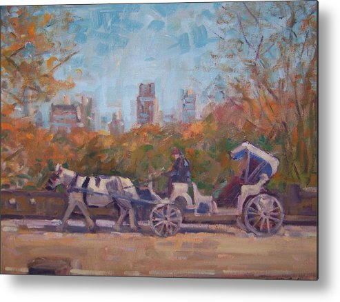 Horse -drawn Carriage In Central Park Ny Metal Print featuring the painting Central Park Tourists by Bart DeCeglie
