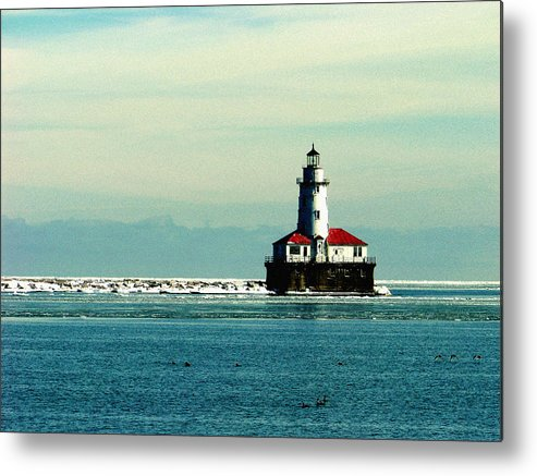 Harbor Lighthouse Metal Print featuring the photograph Chicago Harbor Light by Kyle Hanson