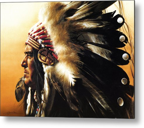 Native American Metal Print featuring the painting Chief by Greg Olsen