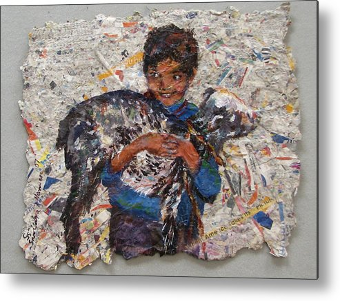 Goat Metal Print featuring the painting Child With Goat On Handmade Paper by Art Nomad Sandra Hansen