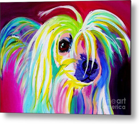 Dog Metal Print featuring the painting Chinese Crested - Fancy Pants by Alicia VanNoy Call