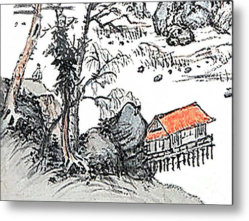 Chinese Metal Print featuring the painting Chinese Style Watercolor Painting by Merton Allen