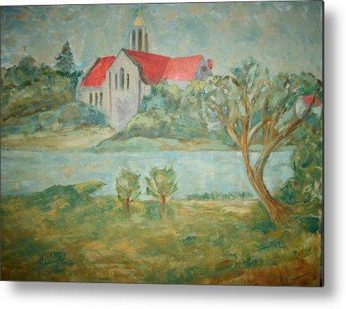 Landscape Churches River Trees Metal Print featuring the painting Church Across River by Joseph Sandora Jr