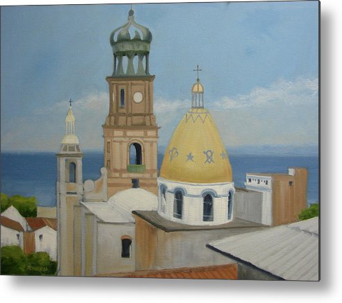 Mexico Metal Print featuring the painting Church Of Gaudalupe by Robert Rohrich