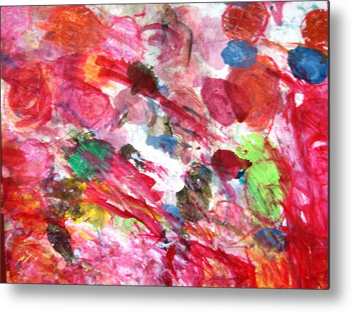 Abstract Metal Print featuring the painting Circles by Kitty Hansen