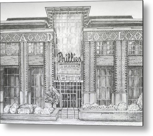 Citizens Bank Park Metal Print featuring the drawing Citizens Bank Park by Juliana Dube