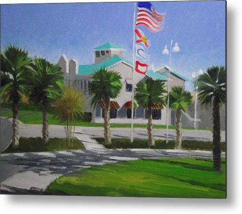 Flags Metal Print featuring the painting City Walk Afternoon by Robert Rohrich
