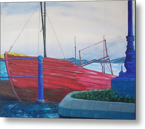 Landscape Metal Print featuring the painting Cobh Harbor Ireland by Kevin Callahan