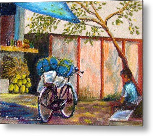 India Metal Print featuring the painting Coconut Stand by Art Nomad Sandra Hansen