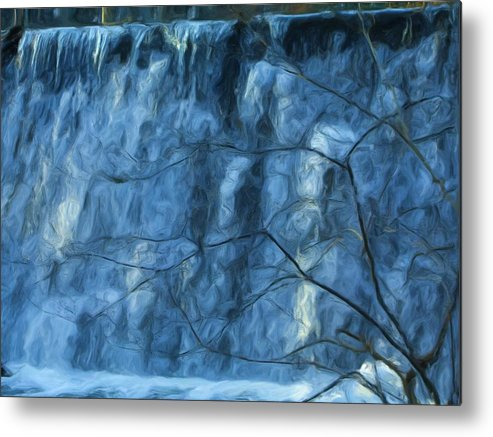 Metal Print featuring the painting Cold Day Cold Water Fall  Winter In Ny by Jonathan Galente
