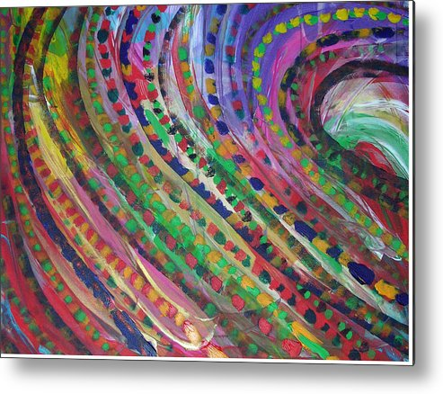 Abstract Metal Print featuring the painting Color Storm by Russell Simmons