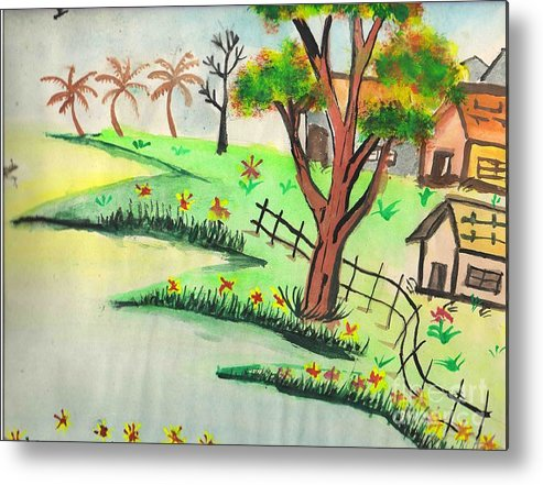 Beautiful Landscape Metal Print featuring the painting Colored Landscape by Tanmay Singh