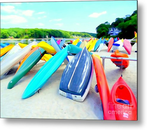 Digital Metal Print featuring the photograph Colorful Canoes by Ed Weidman