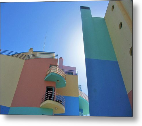 Building Metal Print featuring the photograph Colourful Marina Buildings Albufiera Portugal by Jackie Tweddle