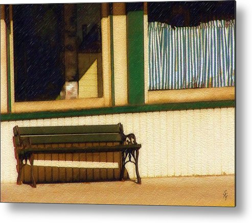 Bench Metal Print featuring the photograph Come Sit A Spell by Sandy MacGowan