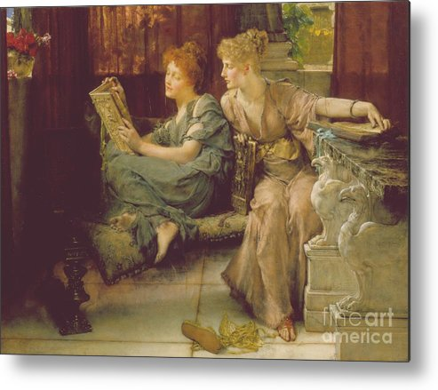 Female Metal Print featuring the painting Comparison by Sir Lawrence Alma-Tadema