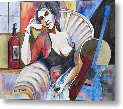 Music Metal Print featuring the painting Contemplating Art And Music by Guri Stark