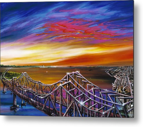 Clouds Metal Print featuring the painting Cooper River Bridge by James Christopher Hill