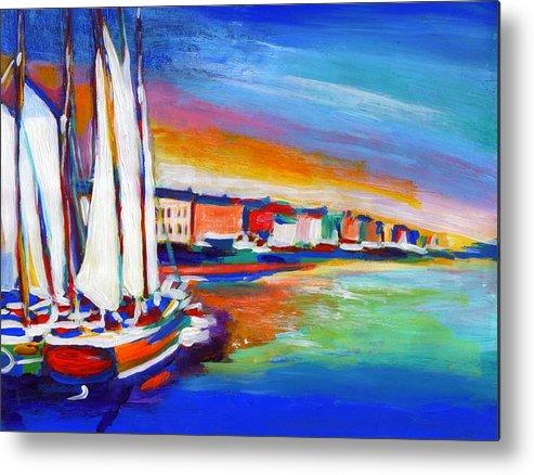 Boats Metal Print featuring the painting Copenhagen by Vel Verrept