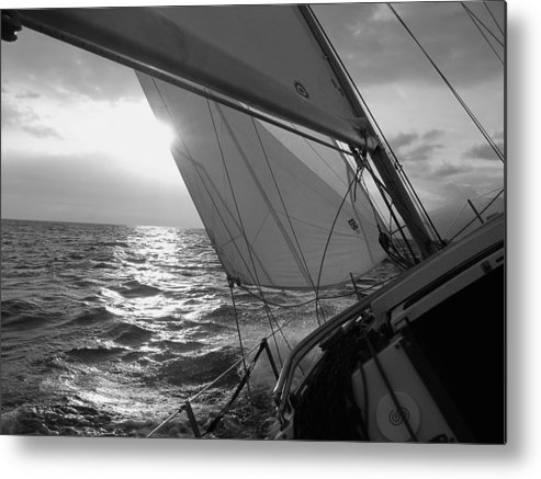 Coquette Sailing Maui Sunset Sails Sailboat Custin Ryan Black And White Water Ocean Spray Yacht Metal Print featuring the photograph Coquette Sailing by Dustin K Ryan