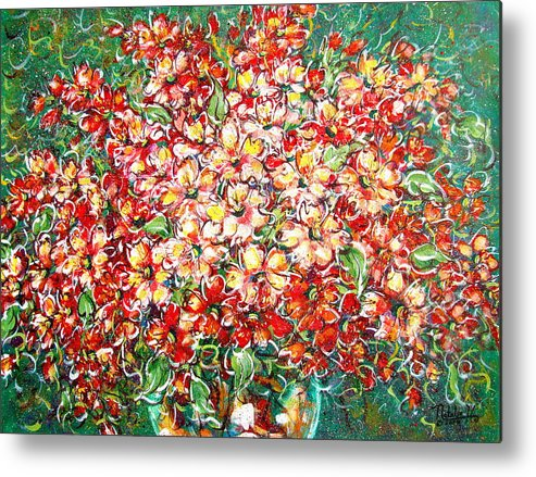 Flowers Metal Print featuring the painting Cottage Garden Flowers by Natalie Holland
