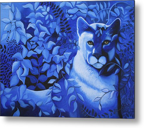 Cougar Metal Print featuring the painting Cougar by Bonnie Kelso