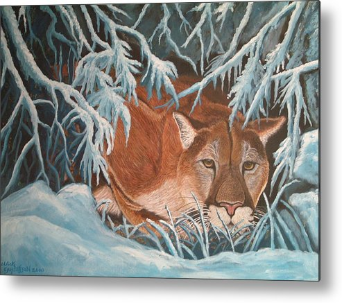 Cougar Snow Wildlife Nature Metal Print featuring the painting Cougar In Snow by Nick Gustafson