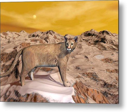 Puma Metal Print featuring the digital art Cougar In The Mountain - 3d Render by Elenarts - Elena Duvernay Digital Art