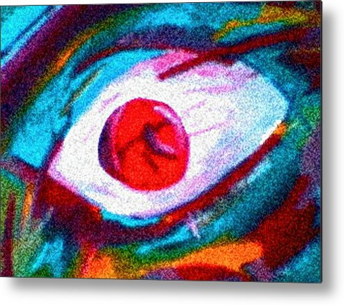 Eye Metal Print featuring the digital art Cought In Her Eye by John Toxey