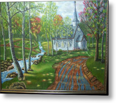 Landscape Metal Print featuring the painting Country Church by Charles Vaughn